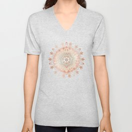 Rose Gold Blush Mint Floral Mandala Unisex V-Neck