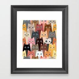 Cats Pattern Framed Art Print