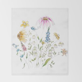 wild flowers and blue bird _ink and watercolor 1 Throw Blanket