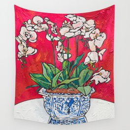 Orchid in Blue-and-white Bird Pot on Red after Matisse Wall Tapestry
