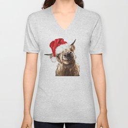 Christmas Highland Cow Unisex V-Neck