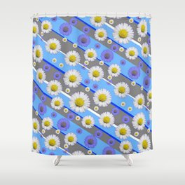DECORATIVE DIAGONAL PATTERN BLUE MODERN ART WHITE SHASTA DAISIES Shower Curtain