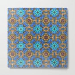 Cute Colorful Retro Art Nouveau Mosaic Pattern Metal Print