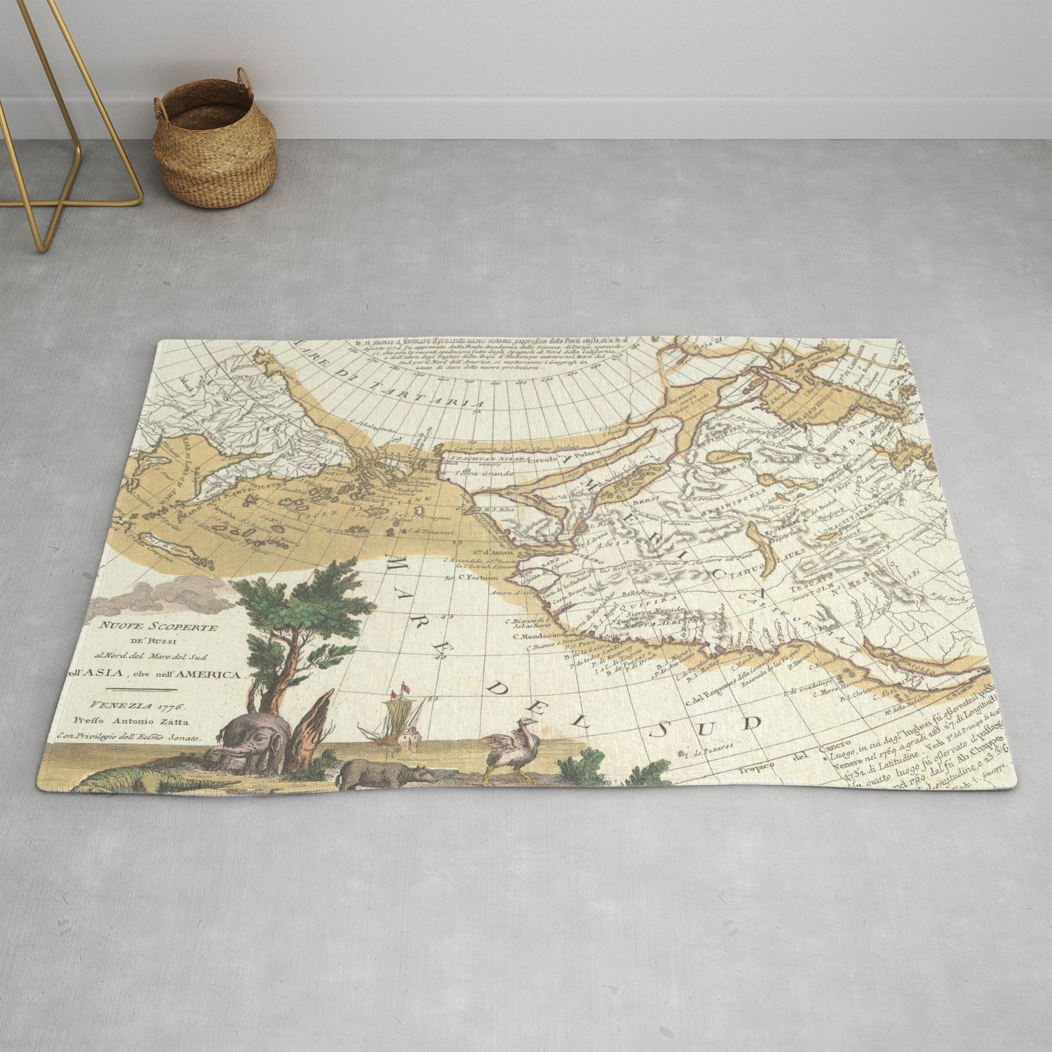Vintage Western North America Pacific Ocean Map Rug By Bravuramedia Society6
