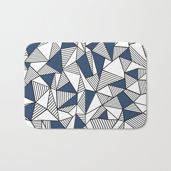 Abstraction Lines with Navy Blocks Bath Mat