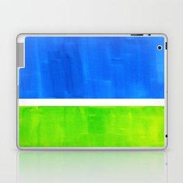 Abstract Minimalist Mid Century Modern Watercolor Geometric Squares Rothko Lime Green Marine Blue Laptop & iPad Skin