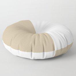 White and Khaki Brown Vertical Halves Floor Pillow