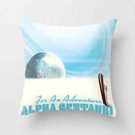 Alpha Centauri Adventure ski poster  Throw Pillow