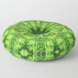 Spring green Canadian Hemlock mandala Floor Pillow