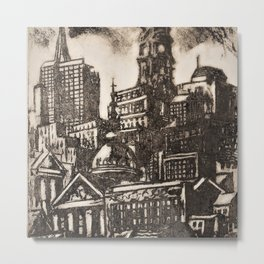 African American Masterpiece 'View of Philadelphia with City Hall' by Dox Thrash Metal Print