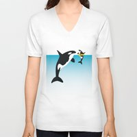 orca V-neck T-shirts featuring Orca by WyattDesign