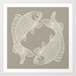 Gray Grey Alabaster Koi Fishes Art Print