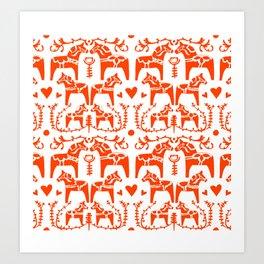Dala Horses Pattern Art Print