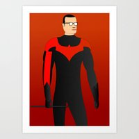 nightwing Art Prints featuring Nightwing by pablosiano