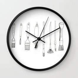 Paint Brush Illustration  Wall Clock