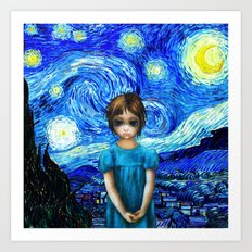 Big Eyes With Starry Night Vincent Van Gogh Art Print