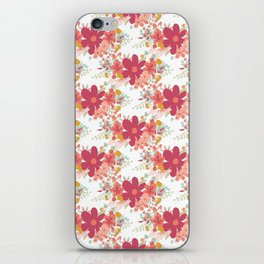 Pink coral teal hand painted floral illustration iPhone Skin