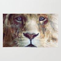 red Area & Throw Rugs featuring Lion // Majesty by Amy Hamilton