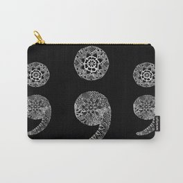 Patterned Semicolon: White on Black Carry-All Pouch