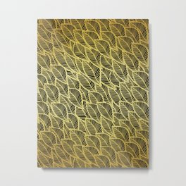 Pattern with golden leaves Metal Print