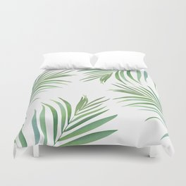 Green Leaf Watercolor Design Duvet Cover