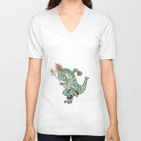 medicine V-neck T-shirts featuring Dino Medicine Man Dancing by Richtoon