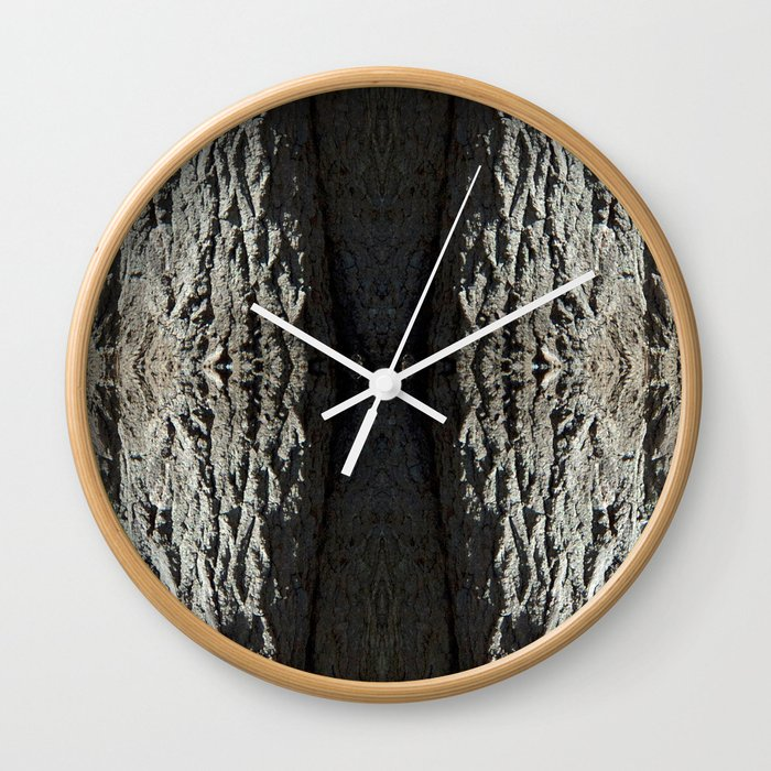Oak Tree Bark Vertical Pattern by Debra Cortese Designs Wall Clock
