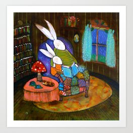 Bunnies Reading on a Rainy Day Art Print