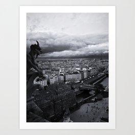 The Gargoyle Guarding Paris. Art Print