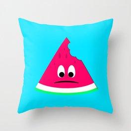 Cute sad bitten piece of watermelon Throw Pillow