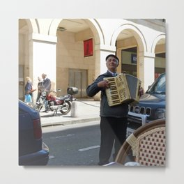 Accordionist at Lunch Metal Print