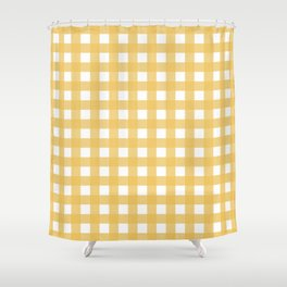 Farmhouse Gingham in Harvest Yellow Shower Curtain
