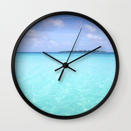 Aqua Water Island Dreams Wall Clock