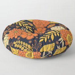 Retro Orange, Yellow, Brown, & Navy Floral Pattern Floor Pillow