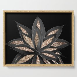 Gray Black Agave with Gold Glitter #1 #shiny #tropical #decor #art #society6 Serving Tray