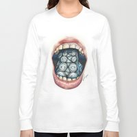 cthulu Long Sleeve T-shirts featuring Cthulhu Lips by lunaevayg