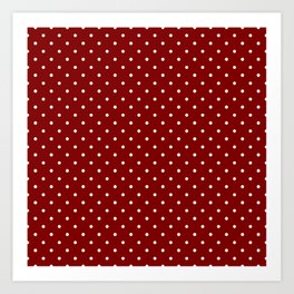 Large White Polka Dots On Dark Christmas Candy Apple Red Art Print
