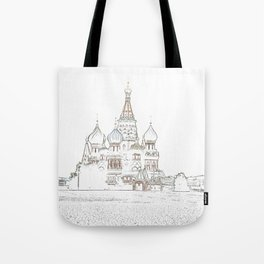 Saint Basil's Cathedral (on white) Tote Bag