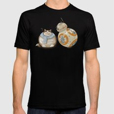 CAT AND DROID Mens Fitted Tee Black SMALL