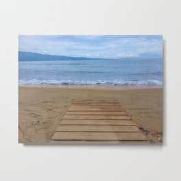 View from the boardwalk on the beach to the sea and the waves. Metal Print