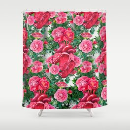 Watercolor heart with floral design Shower Curtain