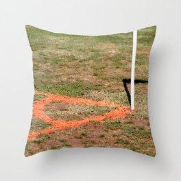Orange Soccer Corner Throw Pillow