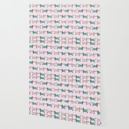 Dachshunds pattern in pink Dog Lover Wallpaper