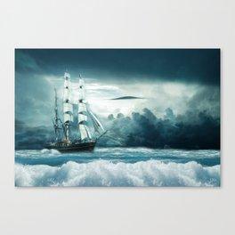 Blue Ocean Ship Storm Clouds Canvas Print