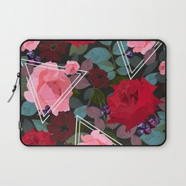 Triangles With Vintage Red Pink Roses and Chocolate Cosmos Flower Pattern Laptop Sleeve