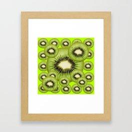 GREEN KIWI SLICES MODERN ART Framed Art Print