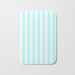 Narrow Vertical Stripes - White and Celeste Cyan Bath Mat