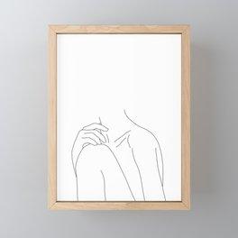 Woman's body line drawing illustration - Cathy Framed Mini Art Print