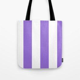 Wide Vertical Stripes - White and Dark Pastel Purple Tote Bag