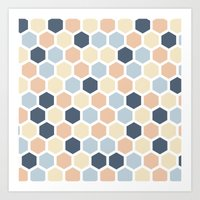 honeycomb Art Prints featuring Honeycomb by 603 Creative Studio